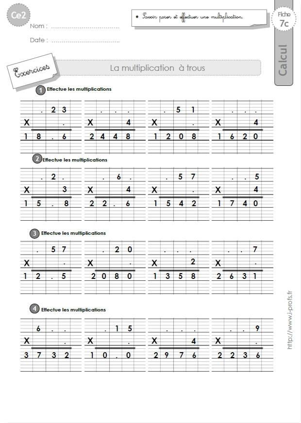 Ce2 exercices corrig s technique op ratoire de la multiplication - Evaluation ce2 multiplication a imprimer ...