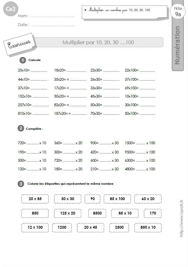 Ce2 Exercices Corriges Multiplier Par 10 20 30 100