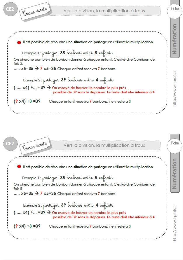 Ce2 trace ecrite la multiplication a trou for La multiplication ce2