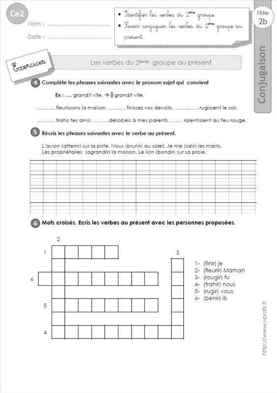 Ce2 Les Verbes Du 2eme Groupe Au Present Exercices