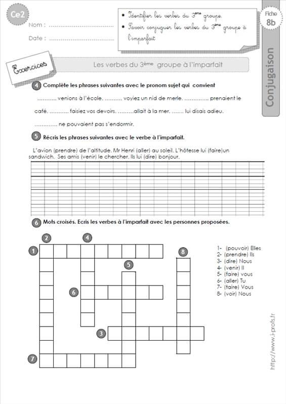 ce2: les verbes du 3ème groupe à l'imparfait-Exercices