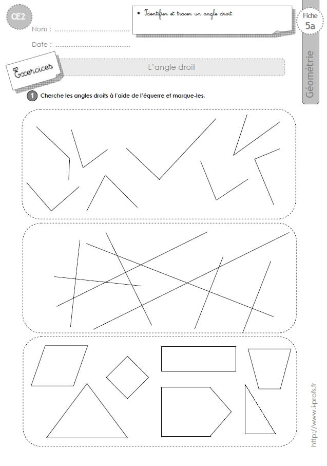 CE2: Exercices LES ANGLES DROITS