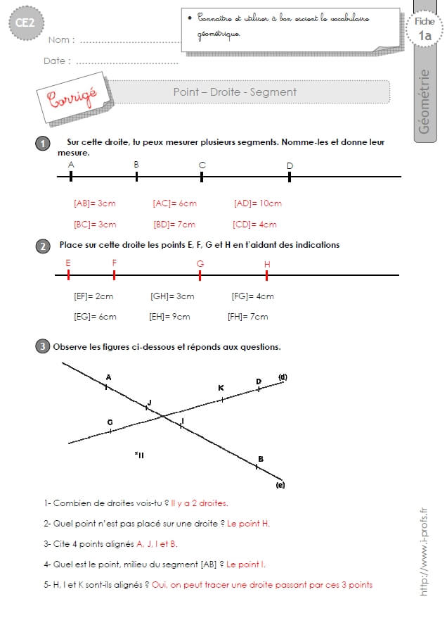 CE2: Exercices DROITES, POINTS, SEGMENTS