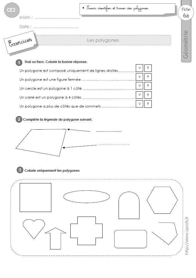 CE2: Exercices LES POLYGONES