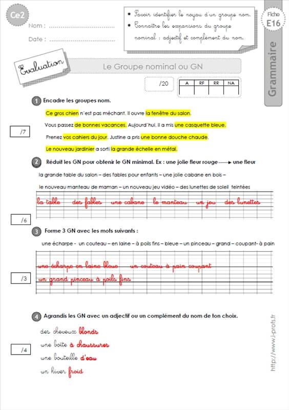 les expansions du nom exercices pdf