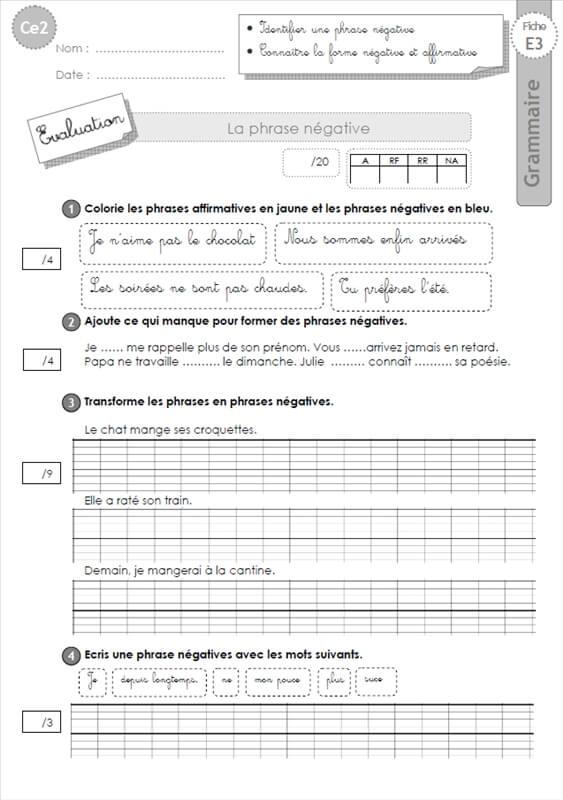 Fabuleux ce2: Evaluation la phrase négative GRAMMAIRE DK19