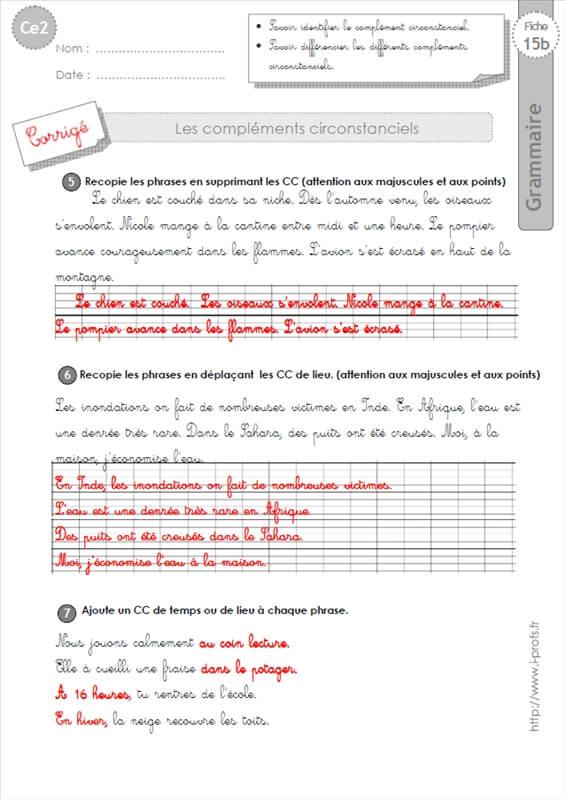 ce2: complements circonstanciels GRAMMAIRE