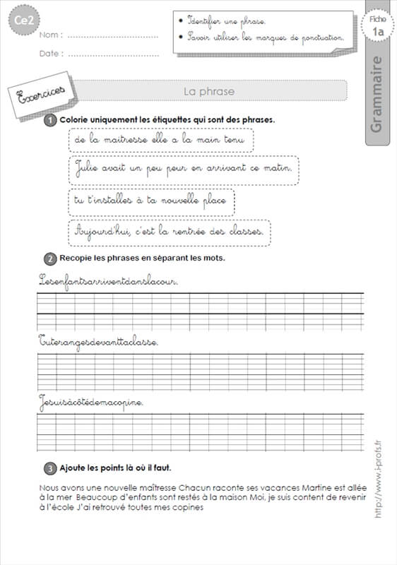 Ce2 grammaire fiches i profs - Evaluation ce2 multiplication a imprimer ...