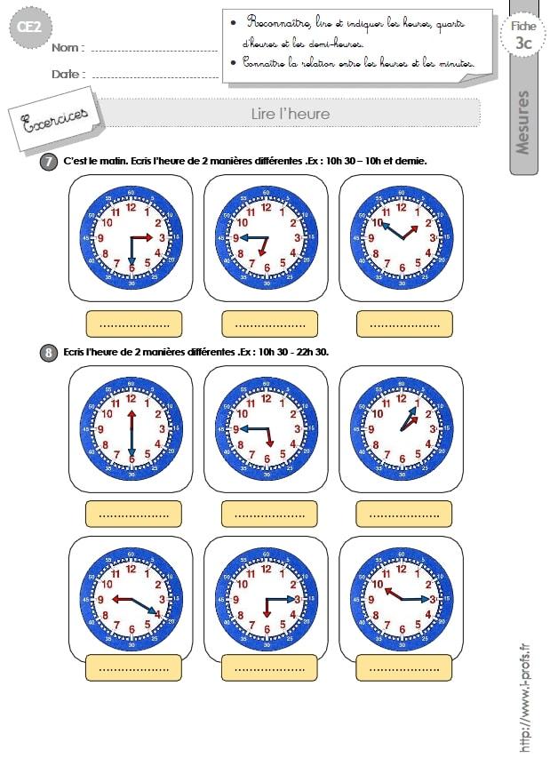 CE2: MESURES ET GRANDEURS Exercices lire l'heure