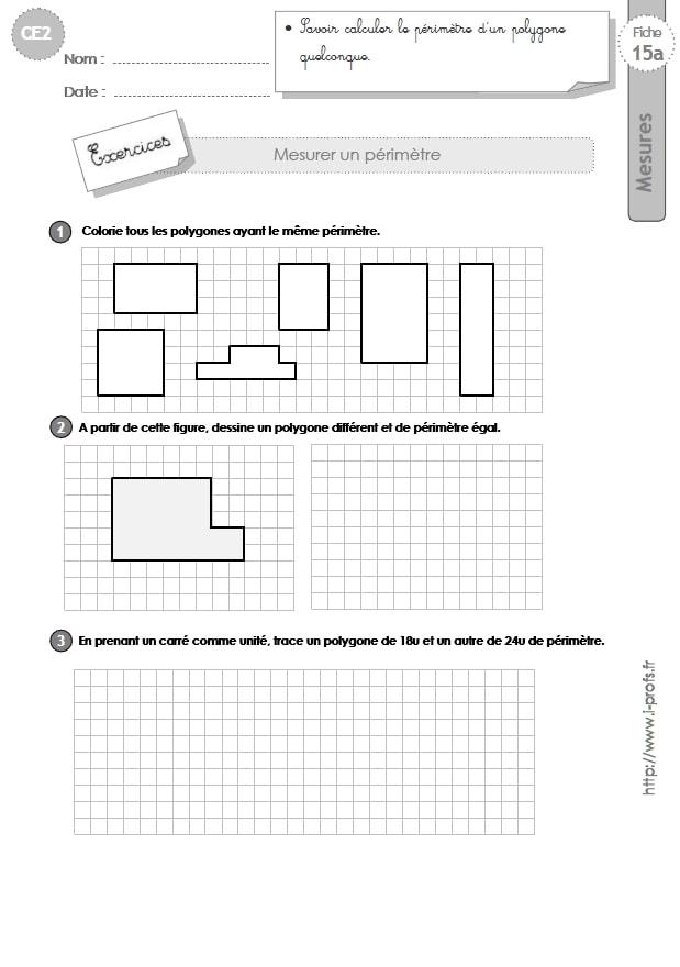 CE2: MESURES ET GRANDEURS Exercices sur le périmètre du polygone