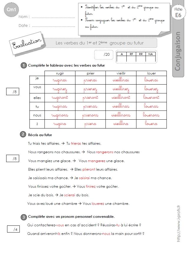 Cm1 Evaluation 1er Et 2eme Groupe Futur