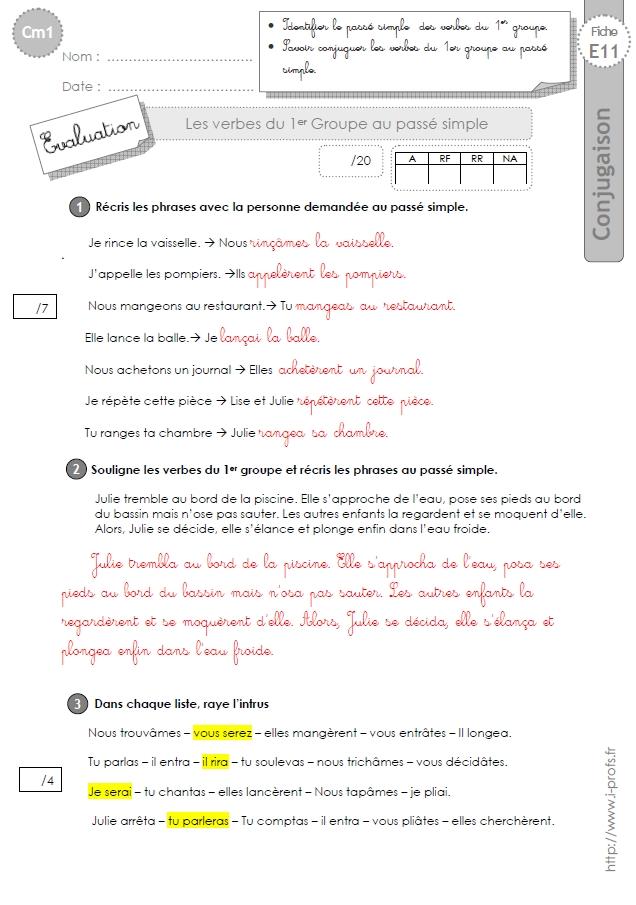 Cm1 Evaluation 1er Et 2eme Groupe Passe Simple