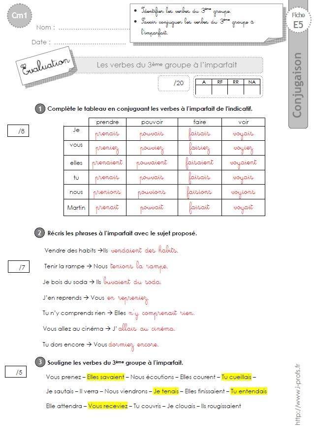 cm1:evaluation 3ème groupe imparfait