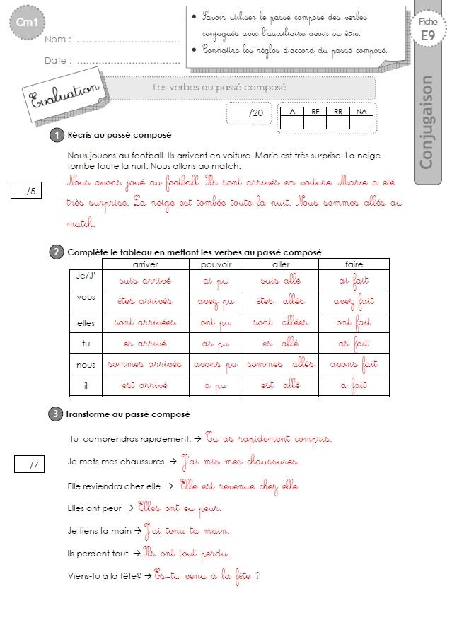 Cm1 evaluation imp ratif pr sent - Conjugaison cm2 a imprimer ...