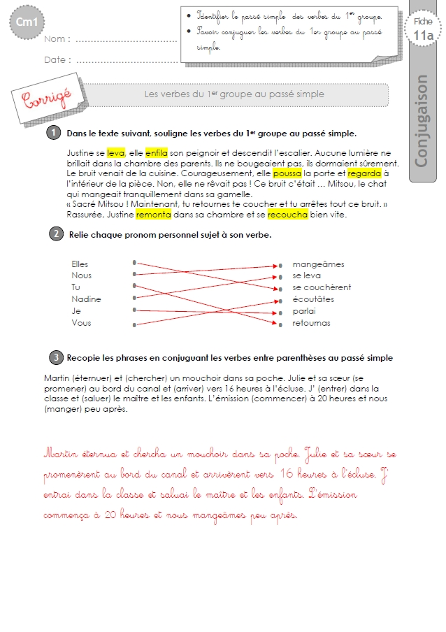 cm1: EXERCICES le passé simple 1er groupe