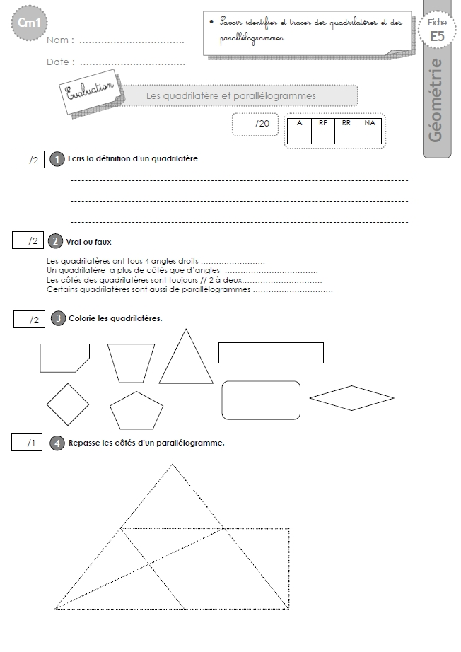 Cm1 Exercices Les Parallelogrammes Et Quadrilateres Quadrilateres Triangles Carres Hexagones Octogones Pentagones