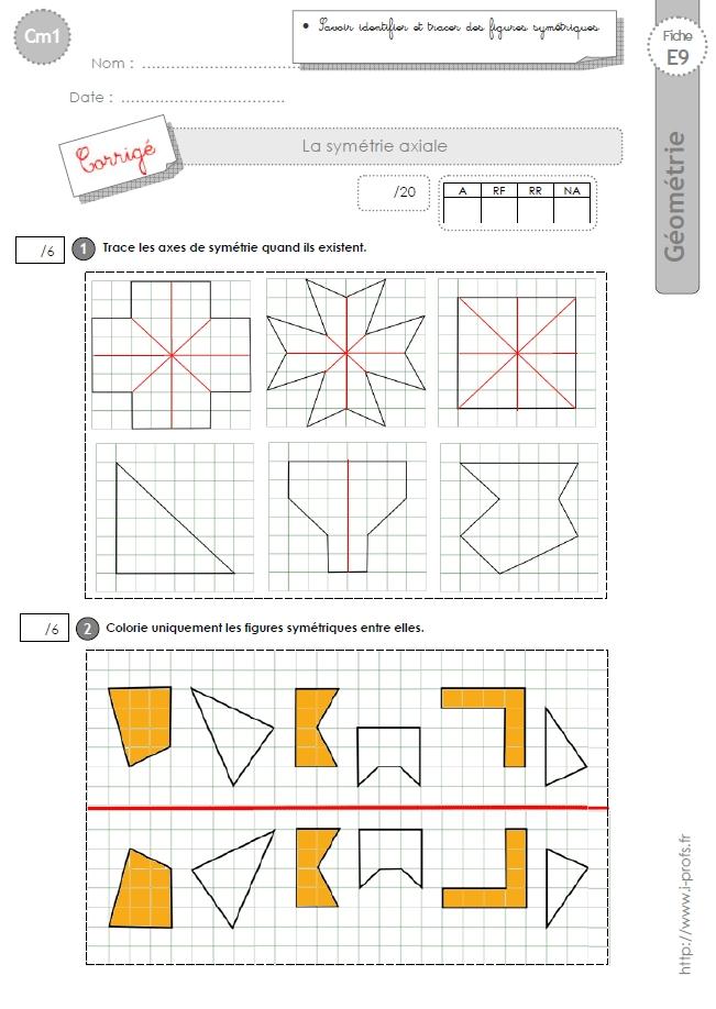 Cm1 Evaluation La Symetrie Axiale