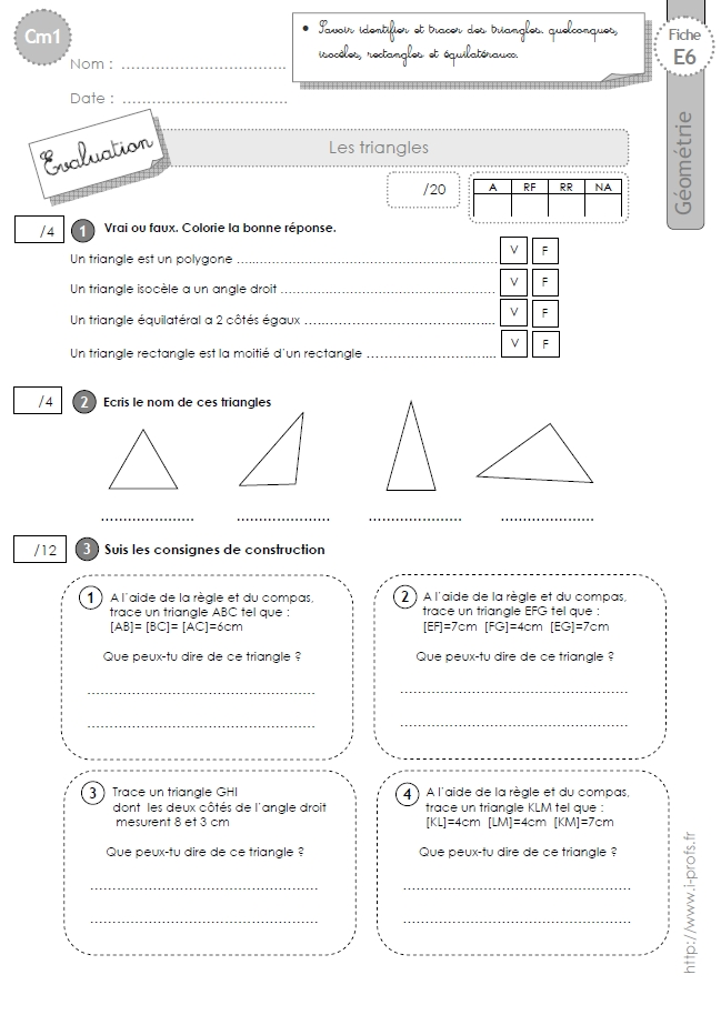 Assez cm1: Evaluation les TRIANGLES isoceles, equilateral, rectangle IC62
