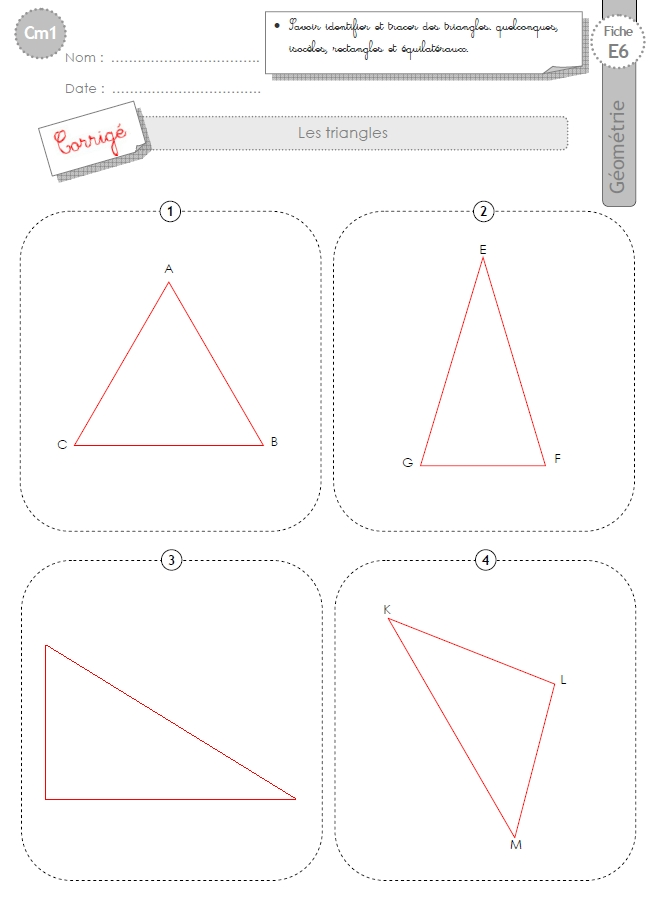 cm1 evaluation les triangles isoceles equilateral rectangle
