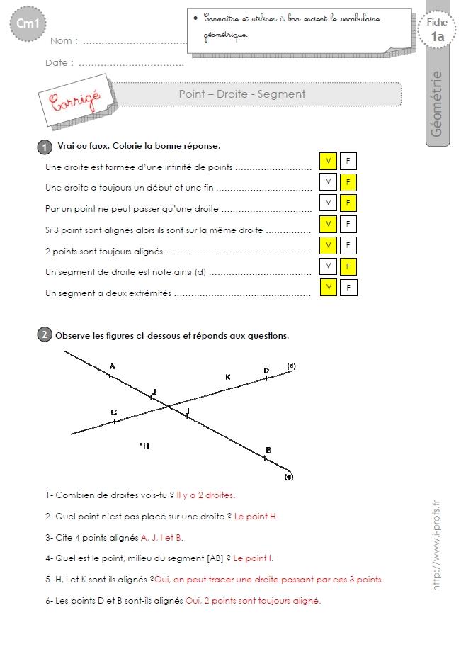 Cm1 Exercices Les Droites Segments Points