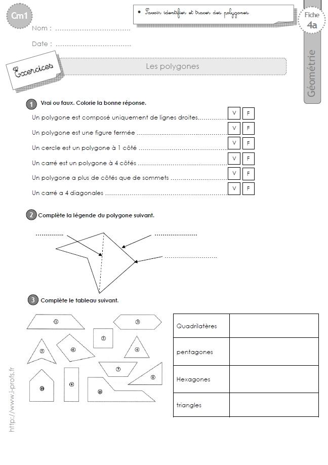 cm1: Exercices les POLYGONES, quadrilatères, triangles, carrés, hexagones, octogones, pentagones