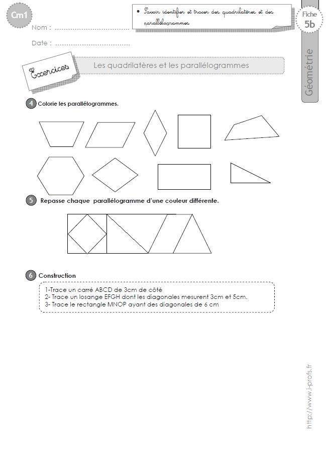 Super cm1: Exercices les PARALLÉLOGRAMMES ET QUADRILATÈRES  TO84