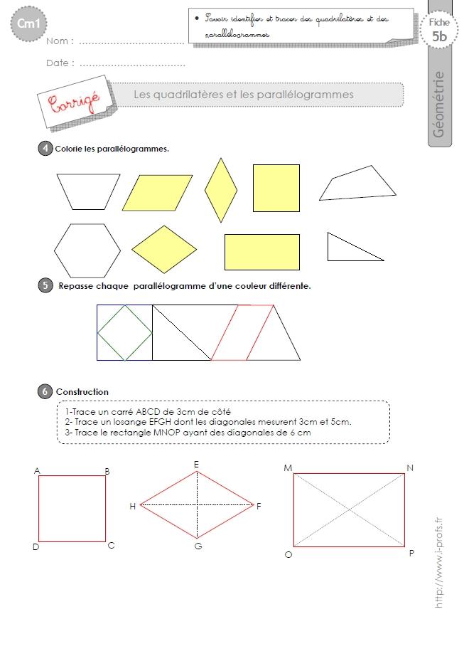 cm1: Exercices les PARALLÉLOGRAMMES ET QUADRILATÈRES, quadrilatères, triangles, carrés ...