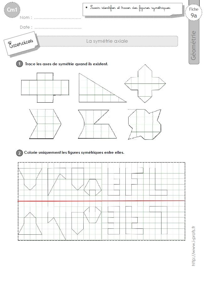Cm1 Exercices La Symetrie Axiale Figures Symetriques