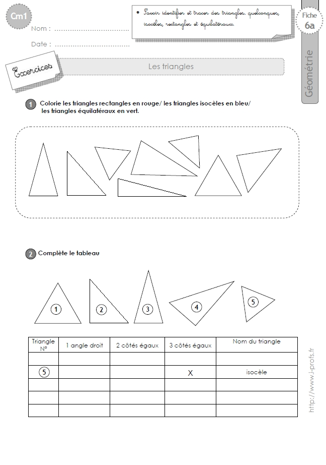 Assez cm1: Exercices les TRIANGLES isoceles, equilateral, rectangle IC62
