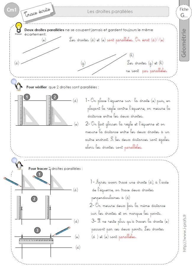 Cm1 Lecon Les Droites Paralleles