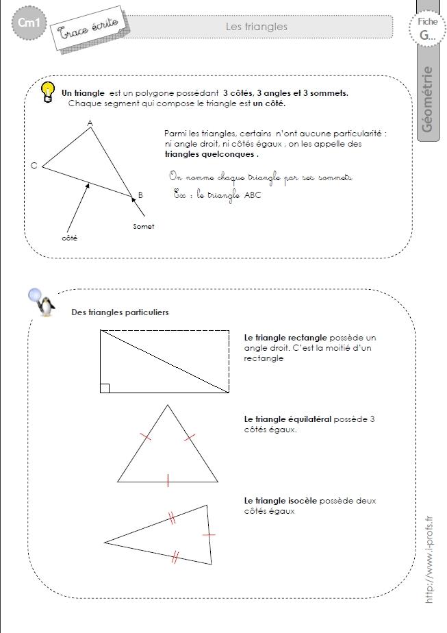 Célèbre cm1: Leçon LES TRIANGLES isocele, equilateral, rectangle, quelconque QX24