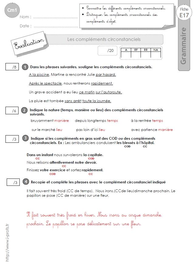 evaluation cm1 complément du nom