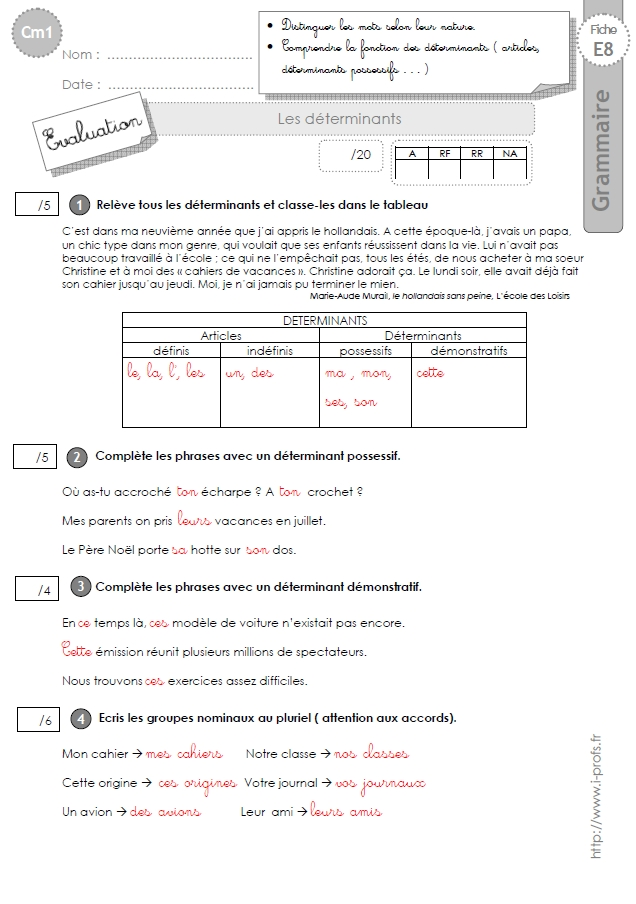 cm1: Evaluation Les déterminants