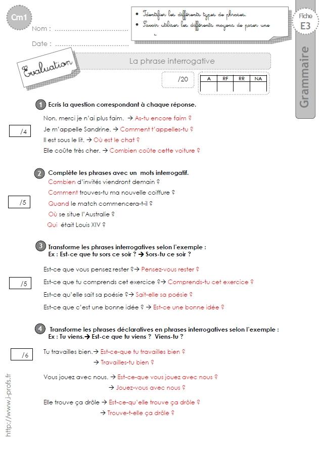 cm1: Evaluation La phrase interrogative