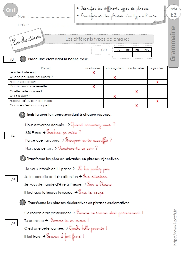 cm1: Evaluation Les types de phrases
