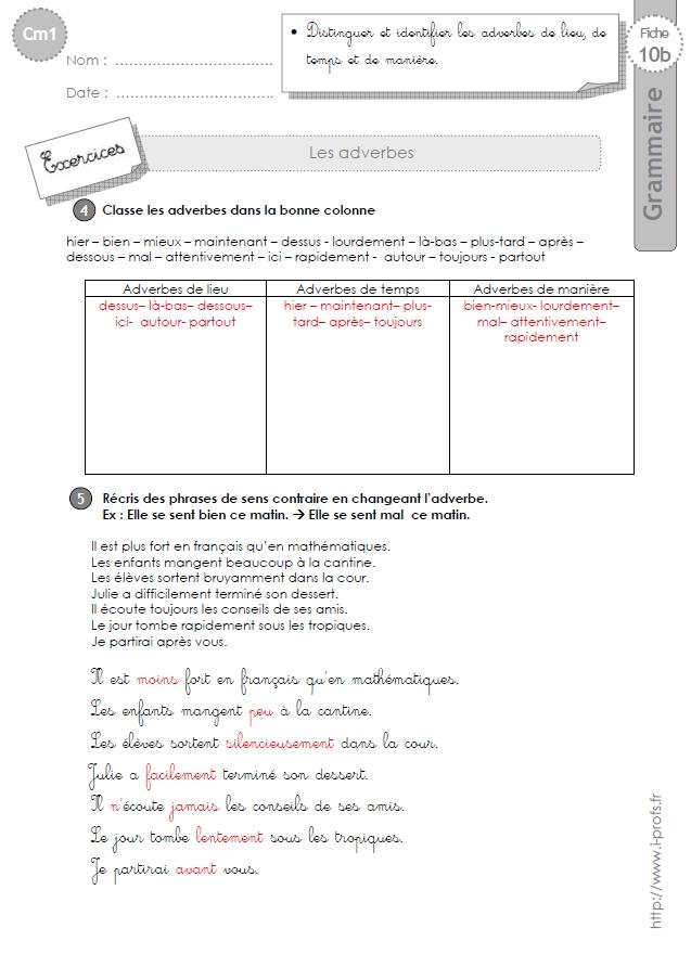 cm1: Exercices Les adverbes