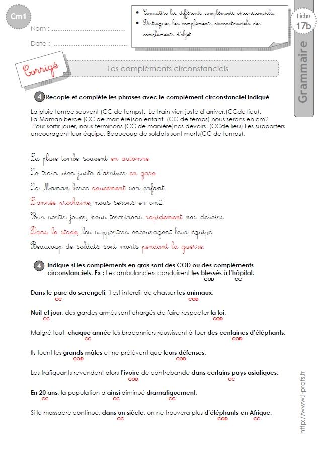 Cm1 Exercices Les Complements Circonstanciels