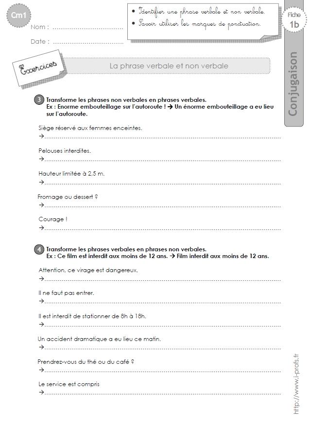 cm1: Exercices Phrase verbale et non verbale