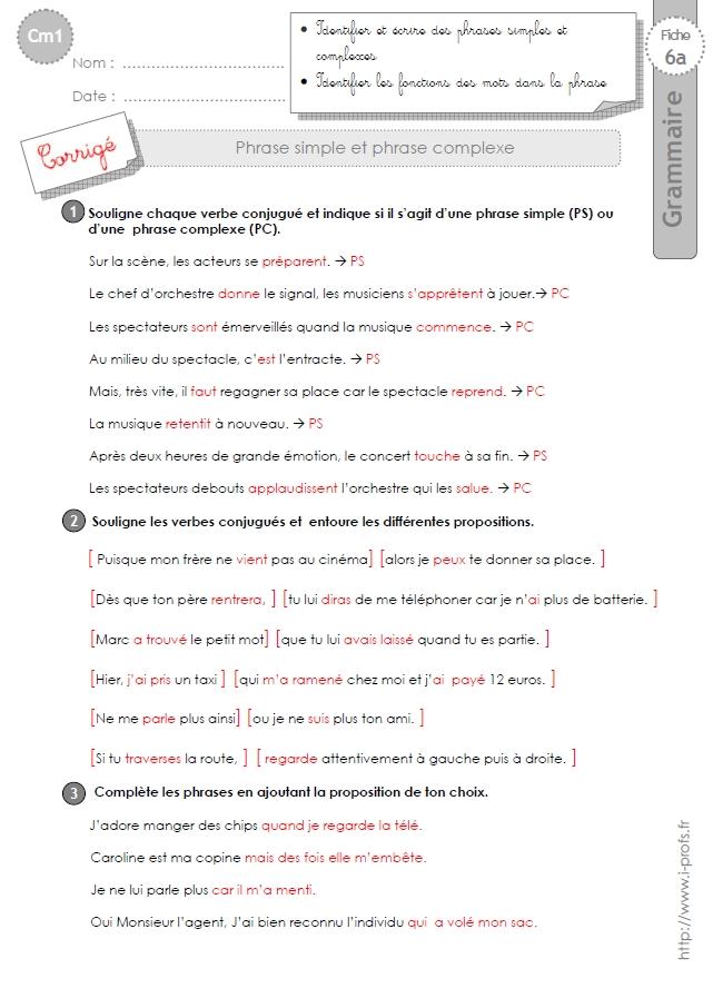 cm1: Exercices phrase simple et phrase complexe