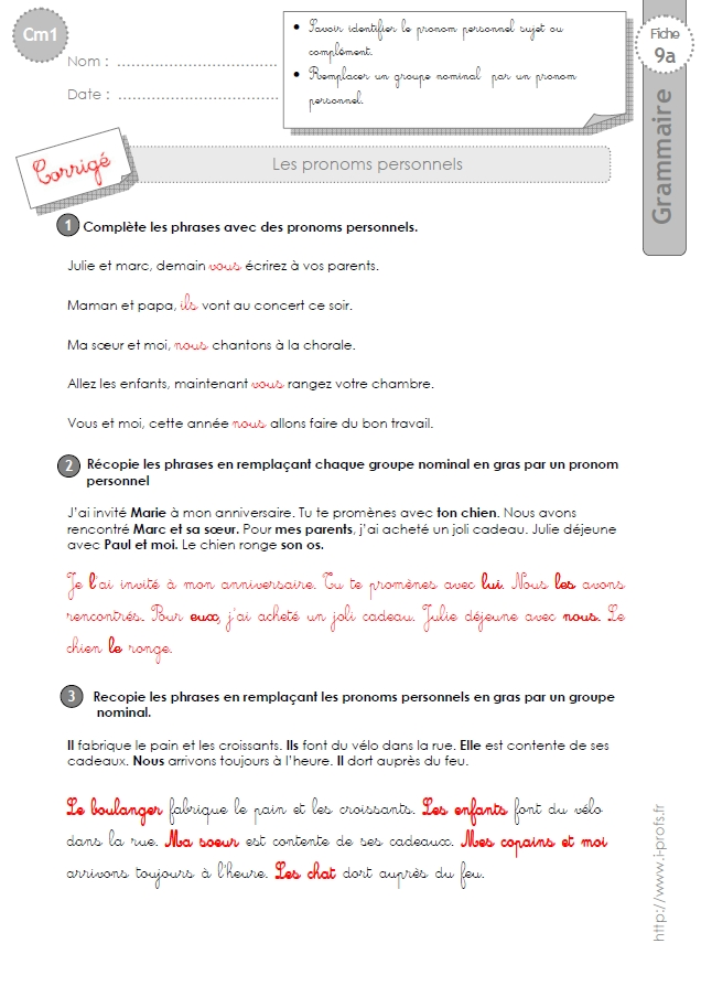 cm1: Exercices Les pronoms personnels