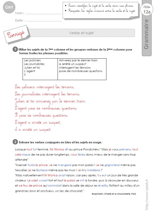 cm1: Exercices Le sujet et le verbe