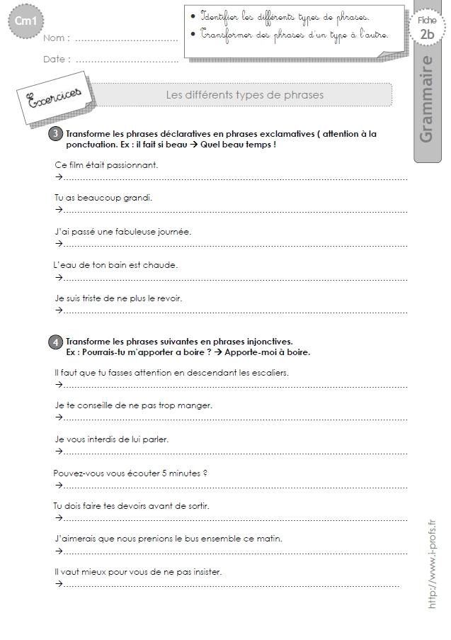 Cm1 Exercices Les Types De Phrases