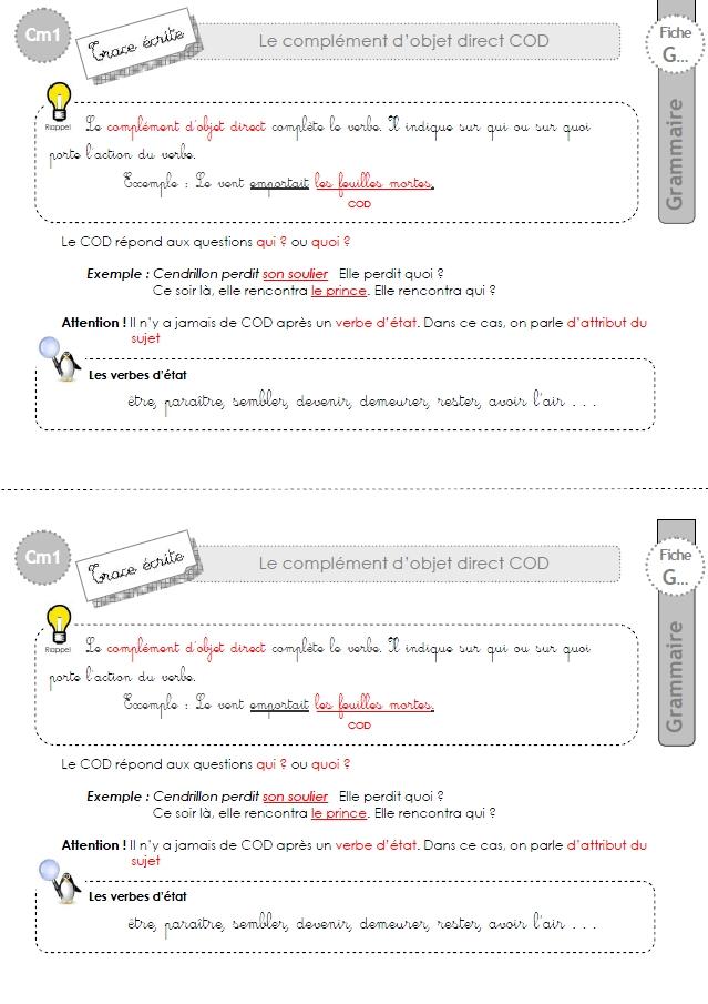 cm1: Leçon Le COD complément d'objet direct