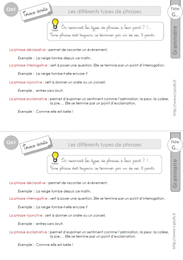cm1: Leçon Les types de phrases
