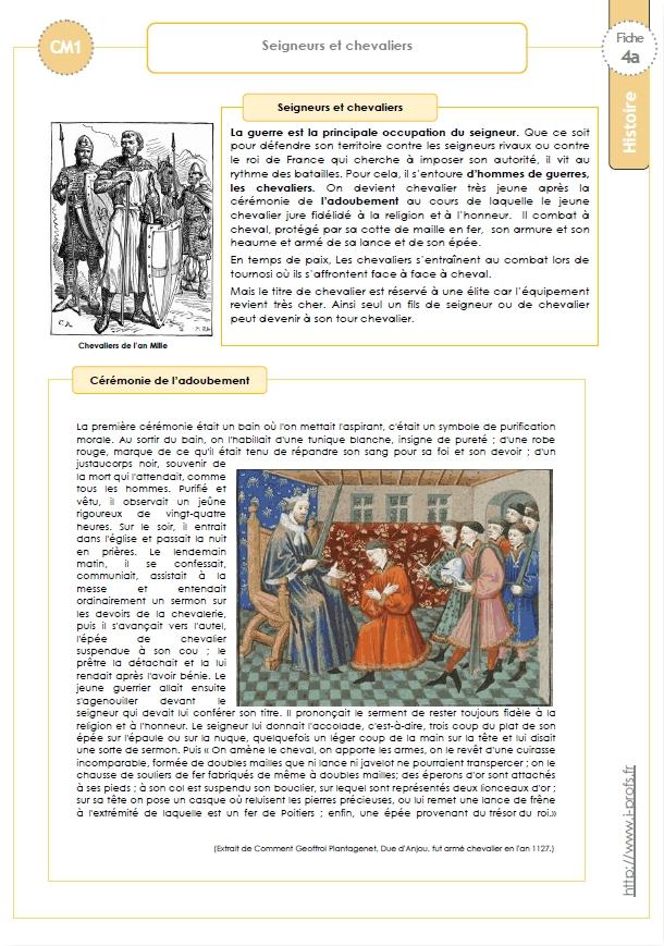Bien connu Trace écrite CM: SEIGNEURS et CHEVALIERS YJ37