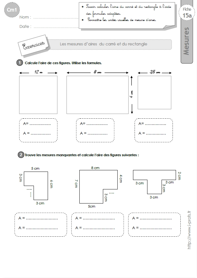cm1: Exercices l'AIRE du carré et du rectangle-