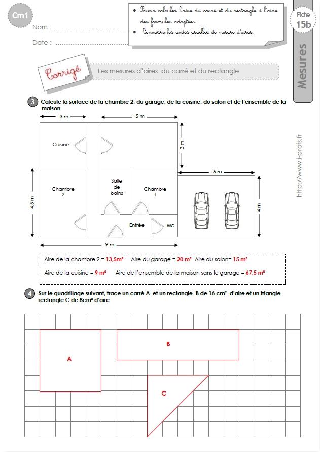 Cm1 Exercices L Aire Du Carre Et Du Rectangle