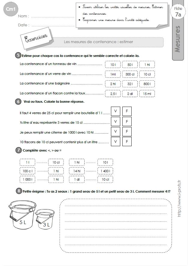 cm1: Exercices les MESURES DE CAPACITES- Tableau de conversion