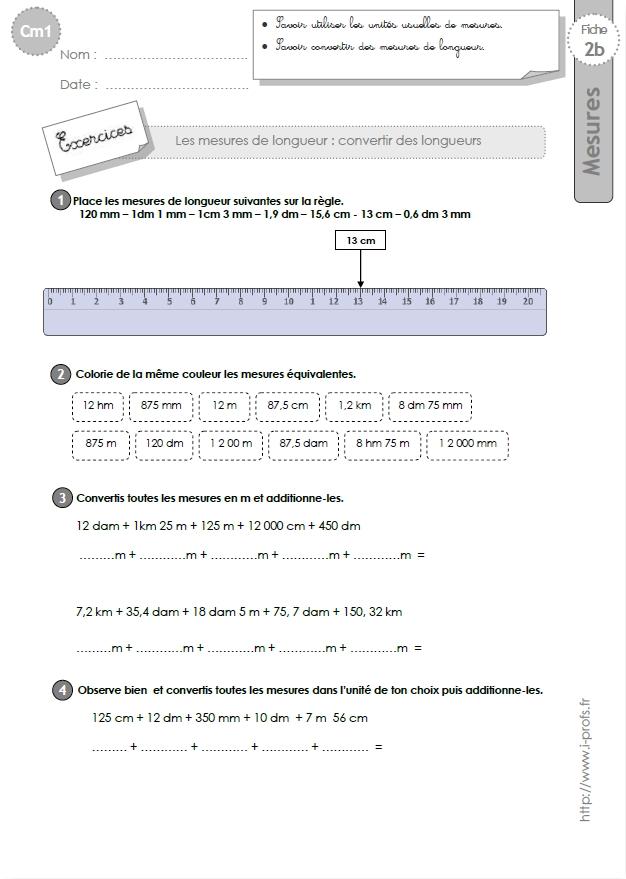 Cm1 Exercices Les Conversions De Longueurs Tableau De Conversion