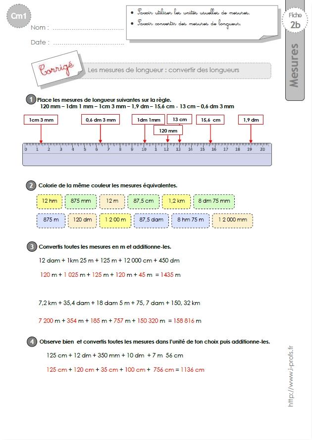 cm1: Exercices les CONVERSIONS DE LONGUEURS- Tableau de conversion